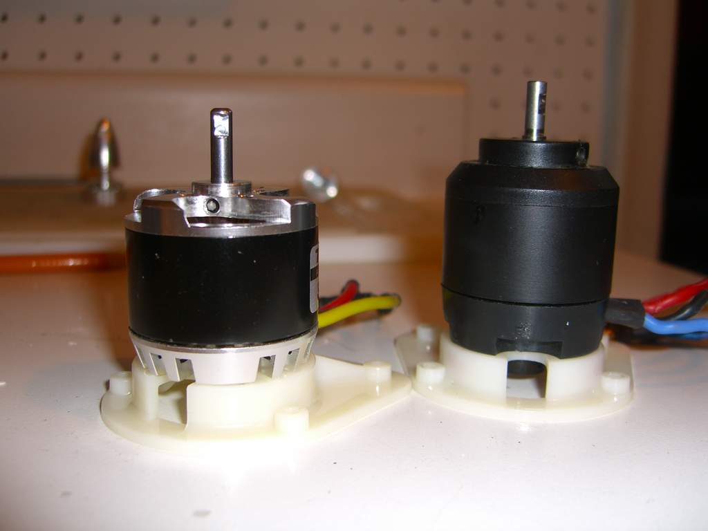 "Comparison of the Turnigy SK 35-30 with the stock motor.... ~1/4"" too short.... hmmm"