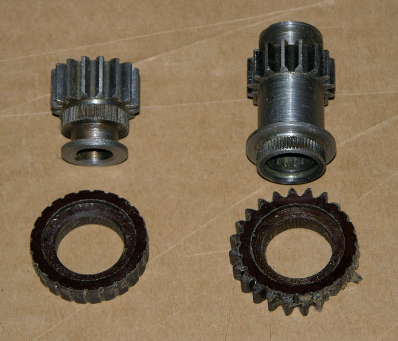 Damaged plastic gears after being pressed off the metal shaft/gear