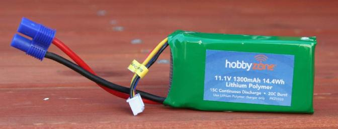 "The 11.1V 1300mAh Lipo battery is capable of 15C (19.5 amps) continuous discharge and 20C (26 amps) bursts.  The E-flite EC3 battery connectors are very easy to connect and disconnect.  The pack weighs 3.7oz and is 2 5/8"" x 1 3/8"" x 7/8""."