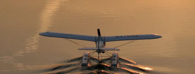 A calm pond, a gorgeous sunset and a float plane = way too much fun!