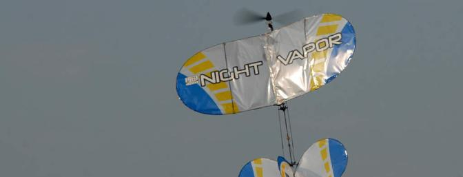 You won't be winning any 3D contests with the Night Vapor, but hanging on the prop for a few seconds isn't out of the question.