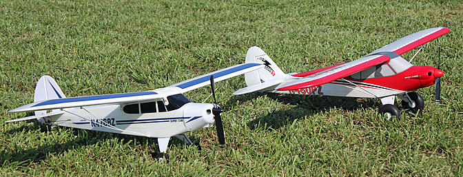 Are they brothers or cousins?  A HobbyZone Super Cub LP and a ParkZone Sport Cub about to take flight in my backyard.