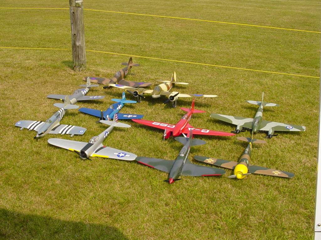 This is my blog, so let's start with my fleet.  At a big warbird event it's always good to have one fool with a bunch of little e-power stuff for balance!