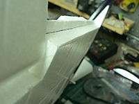 Name: P1040155.jpg Views: 169 Size: 76.6 KB Description: Cuts #2 (along bottom flap line...almost to the top of wing. I left 1/4 inch.  Cut #3 is at a slight angle and meets cut #2.  The cut piece is then re-attached to the flap
