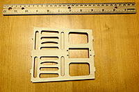 Name: DSC03966.jpg Views: 15 Size: 684.9 KB Description: Original plan was to entirely replace servo tray w/a CF tray. However, after thinking about it further I decided just to piece it back together and reinforce it w/ply splints.