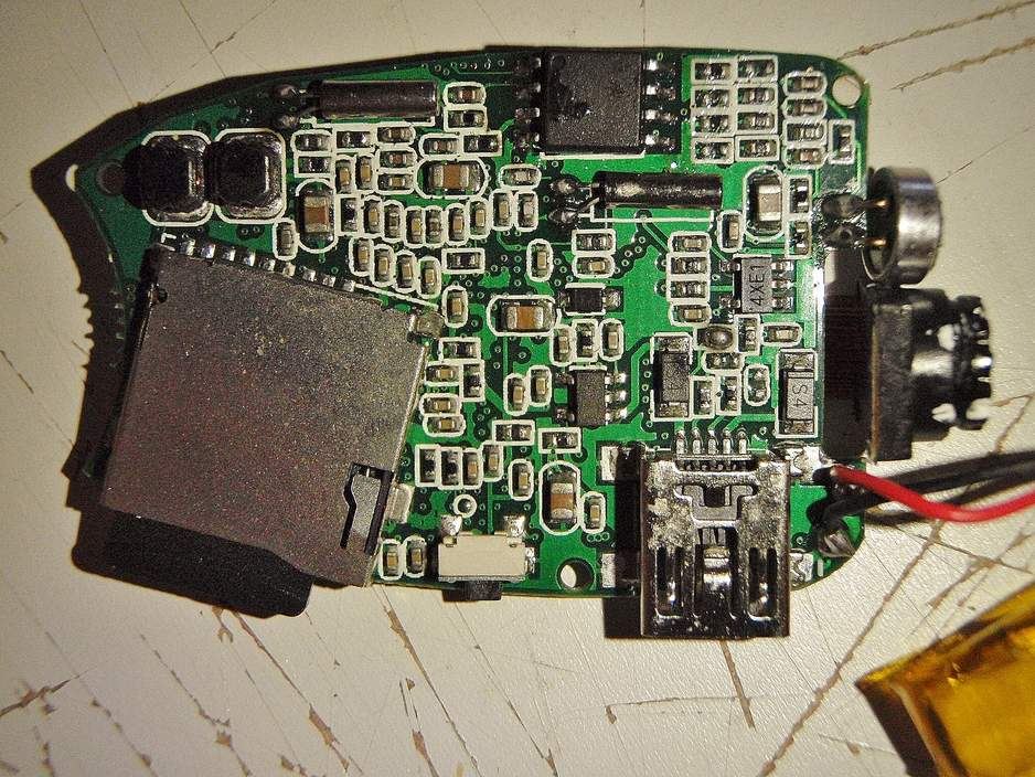 Camera Circuit Board - battery side (with battery moved for visibility)