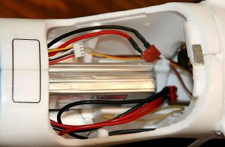 The battery installed in its tray.