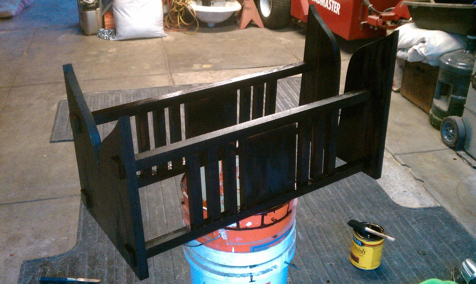"Boat stand in the process of ""antiquing.""  A Stickley Mission Style bookcase was used as the inspiration  for the design."