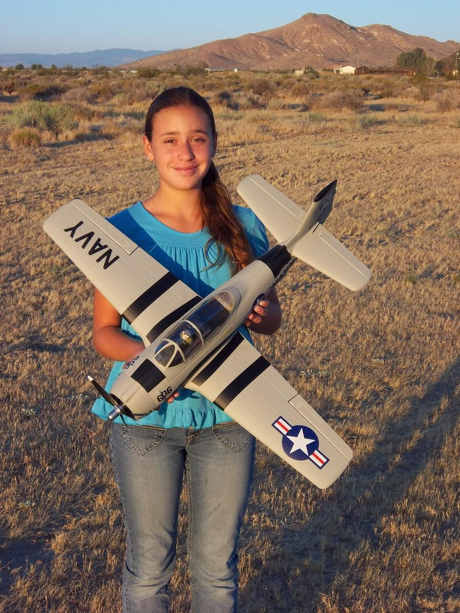 My daughter Evelyn holding the Airfield 800mm T-28 from Nitroplanes.
