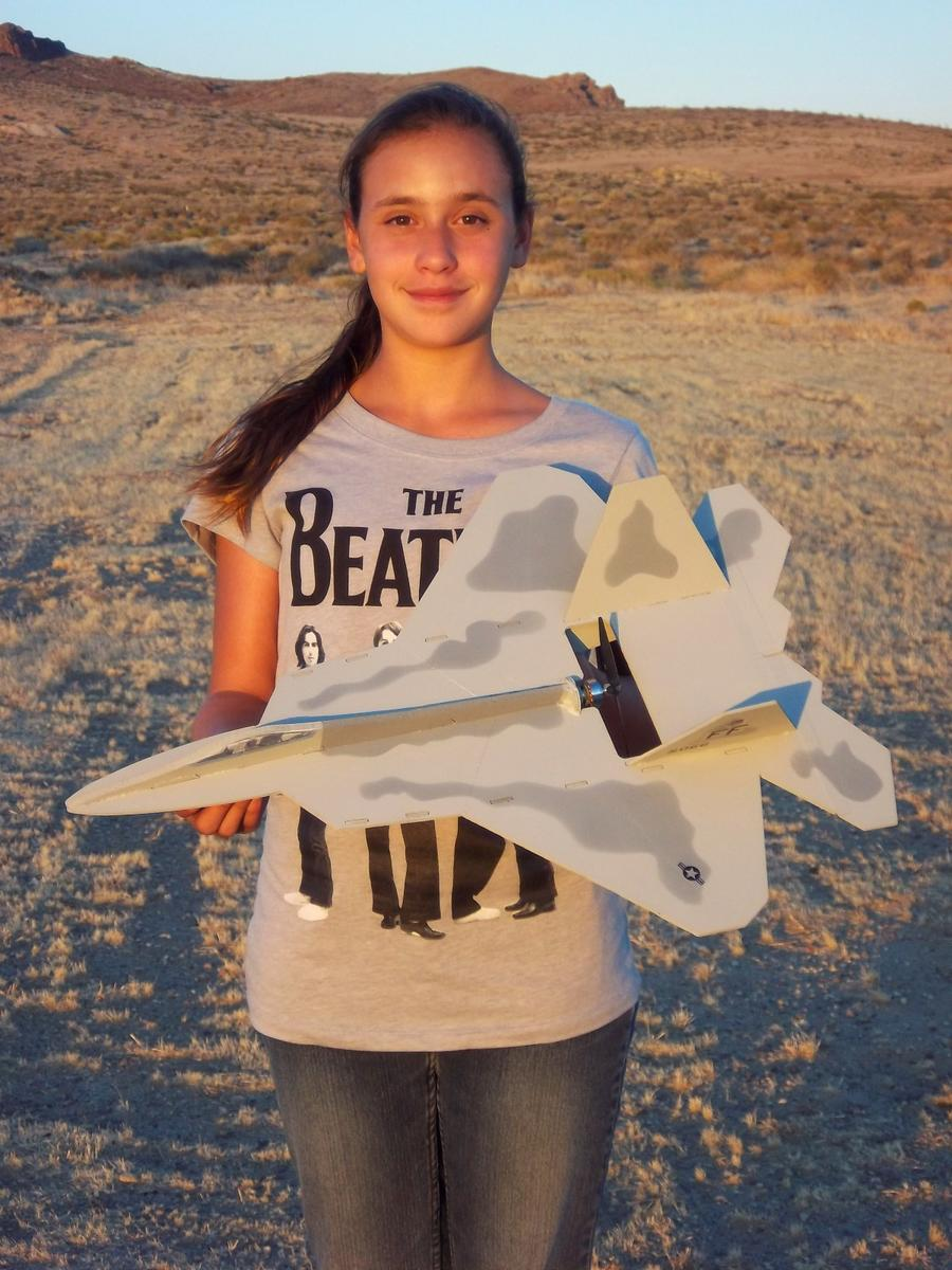My daughter Evelyn holding our new Nico Hobbies F-22. Check them out at Nicohobbies.com