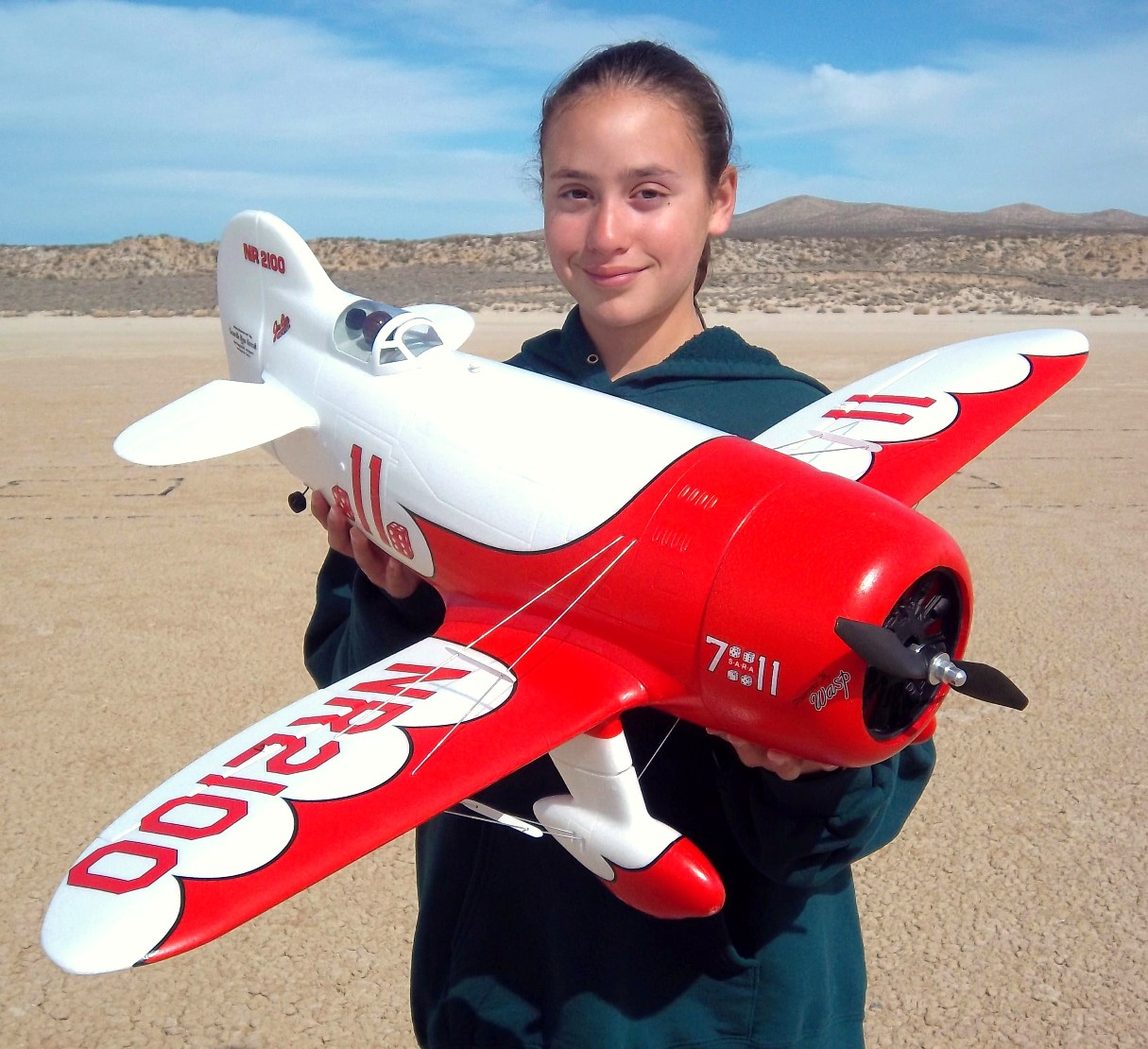 RC Pilot Evelyn holding the New ElectriFly Gee Bee.