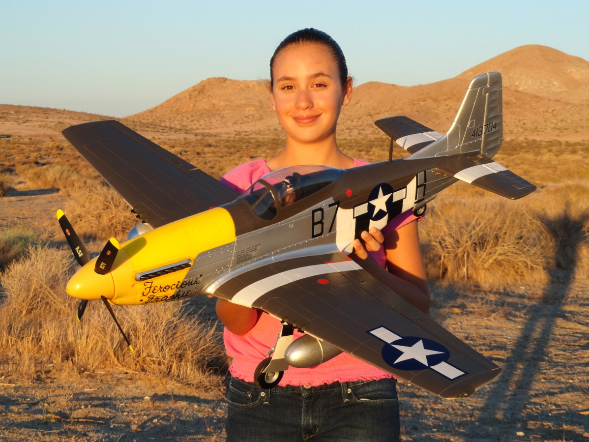RC Pilot Evelyn holding the new Durafly 1100mm P-51D