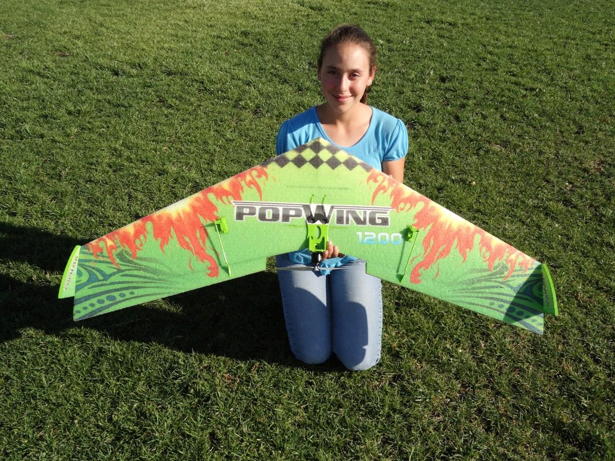 RC Pilot Evelyn holding the TechOne PopWing 1200 from Nitroplanes.com
