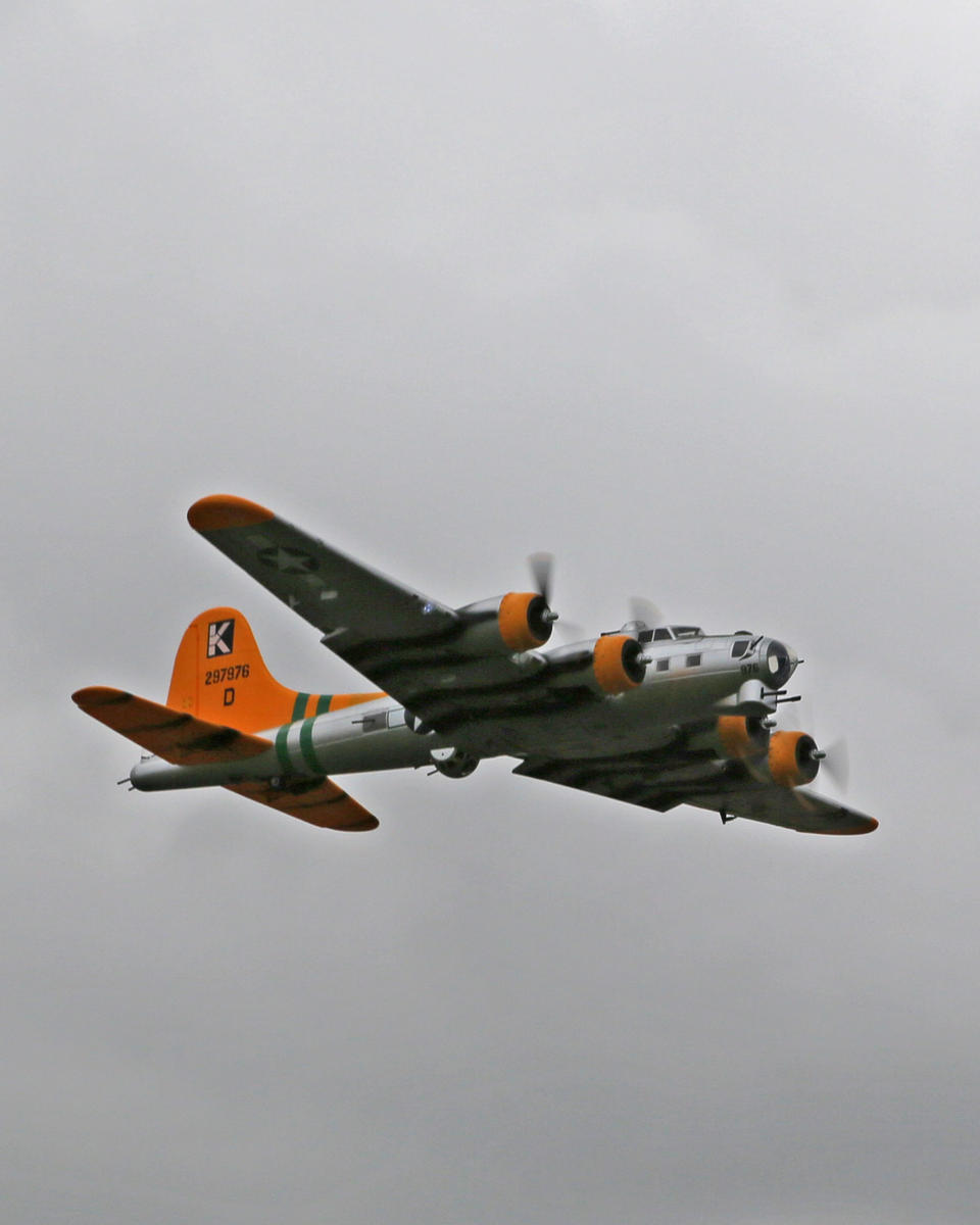 My Starmax B-17 in flight with flaps down. Photo by Mike.