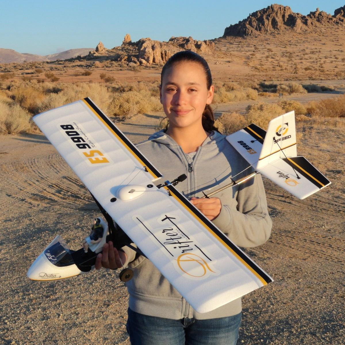 RC Pilot Evelyn holding the New Hobby King Drifter Ultralight