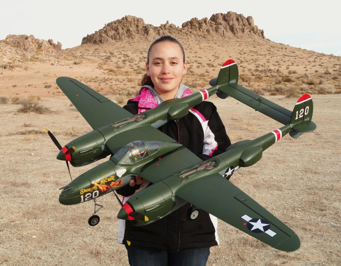 RC Pilot Evelyn holding the New Art-Tech 400 P-38 available from Nitroplanes.com