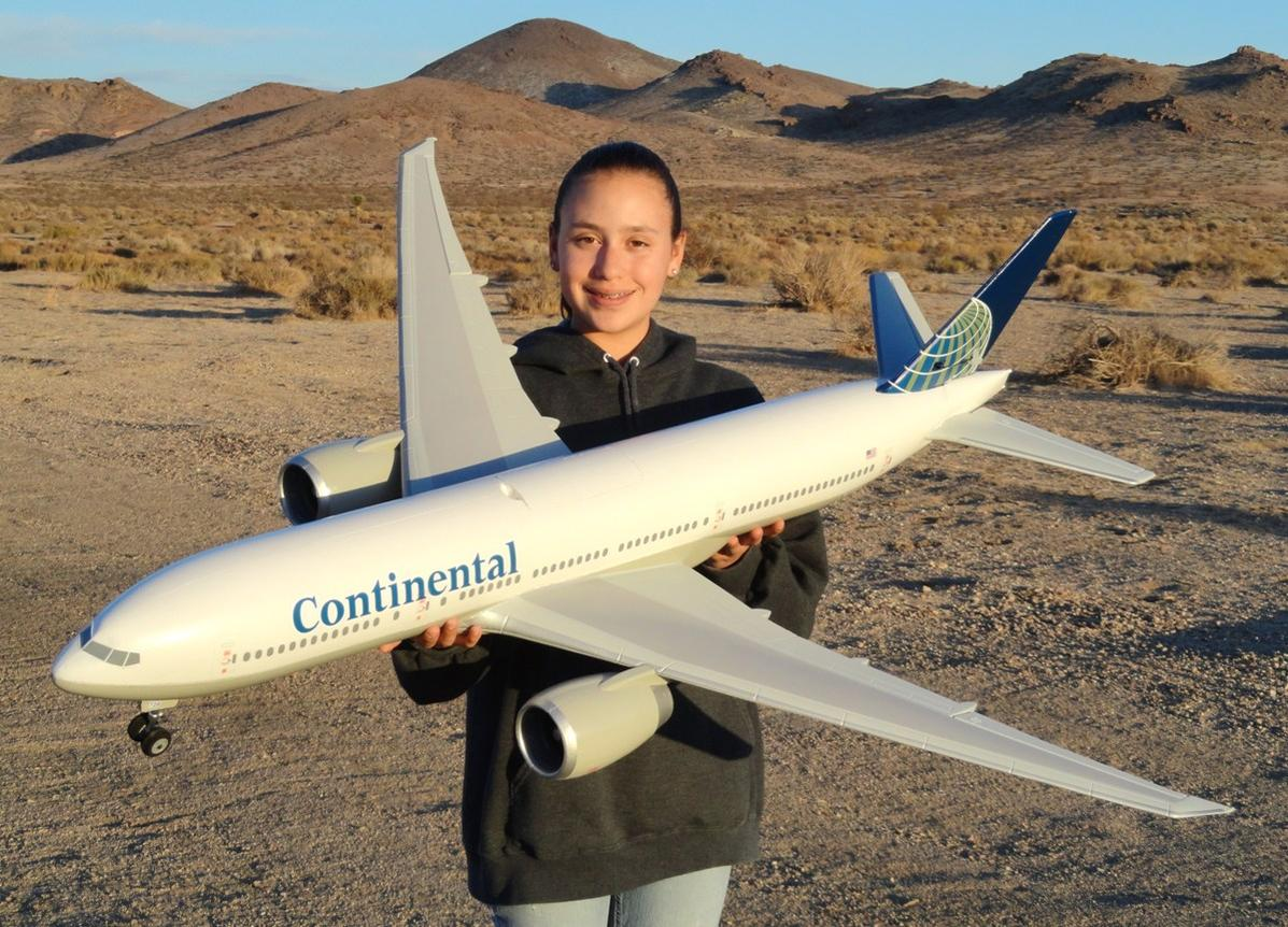RC Pilot Evelyn holding the Windrider Boeing 777 PNP