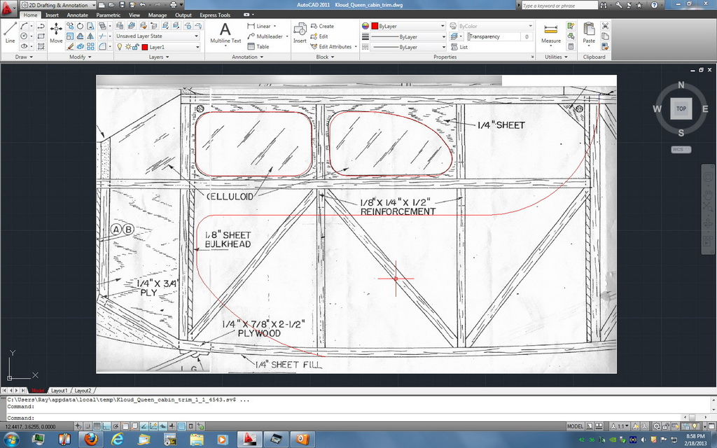 The plan was scanned and inserted into acad as a .jpg image.  The template was simply drawn on top of the plan.