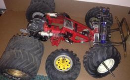 Vintage dual wheel Tamiya Blackfoot parts lot