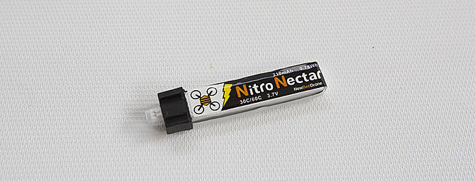 "The included 3.7v 210mAh 30c/60c ""Nitro Nectar"" LiPo"