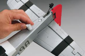 The horizontal stabilizer is held tight with foam dowels. Photo courtesy of Tower Hobbies