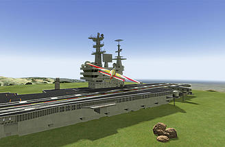 "Custom flying sites and scenarios are easy to make. I call this one ""Carrier in a Field"""
