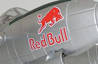 The Flitework Flying Bulls P-38 Lightning features the Red Bull logo on the nose