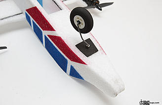 The front nose wheel is a castering design and turns easily with differential thrust from the motors