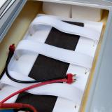 A series harness with Deans connectors comes prewired. This is for running a pair of 7.4v 2s 4200mAh packs.