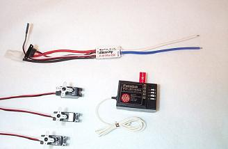 Futaba R114H receiver, three S3103 servos, and Electri-Fly C-30 speed controller  
