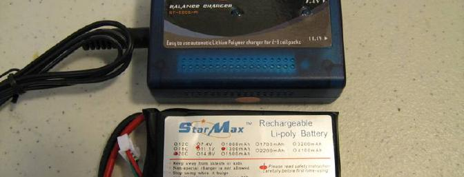 The provided LiPo balance charger and 1300 3S pack