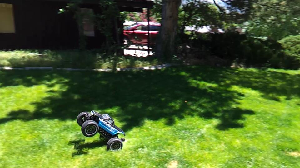 Wheelie in the back yard.