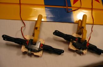 Gluing the mounting blocks in place.