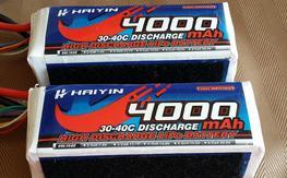(2) Haiyin 6S 22.2V 4000 mAh 30-40C Lipos