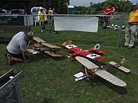 """Name: m_DSCF0038.jpg Views: 28 Size: 139.7 KB Description: Jeff and his winning planes.  The Royal Bleriot took the honors in scale and the Antic took top honors in the """"Concours"""" event."""
