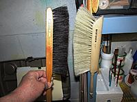 """Name: 004.JPG Views: 6 Size: 155.5 KB Description: My old (1966) wood bodied drafting brush with black horse hair bristles on the left and """"Junior"""" on the right with what appears to be manmade bristles and a nylon brush body.  I miss those earlier drafting days..."""