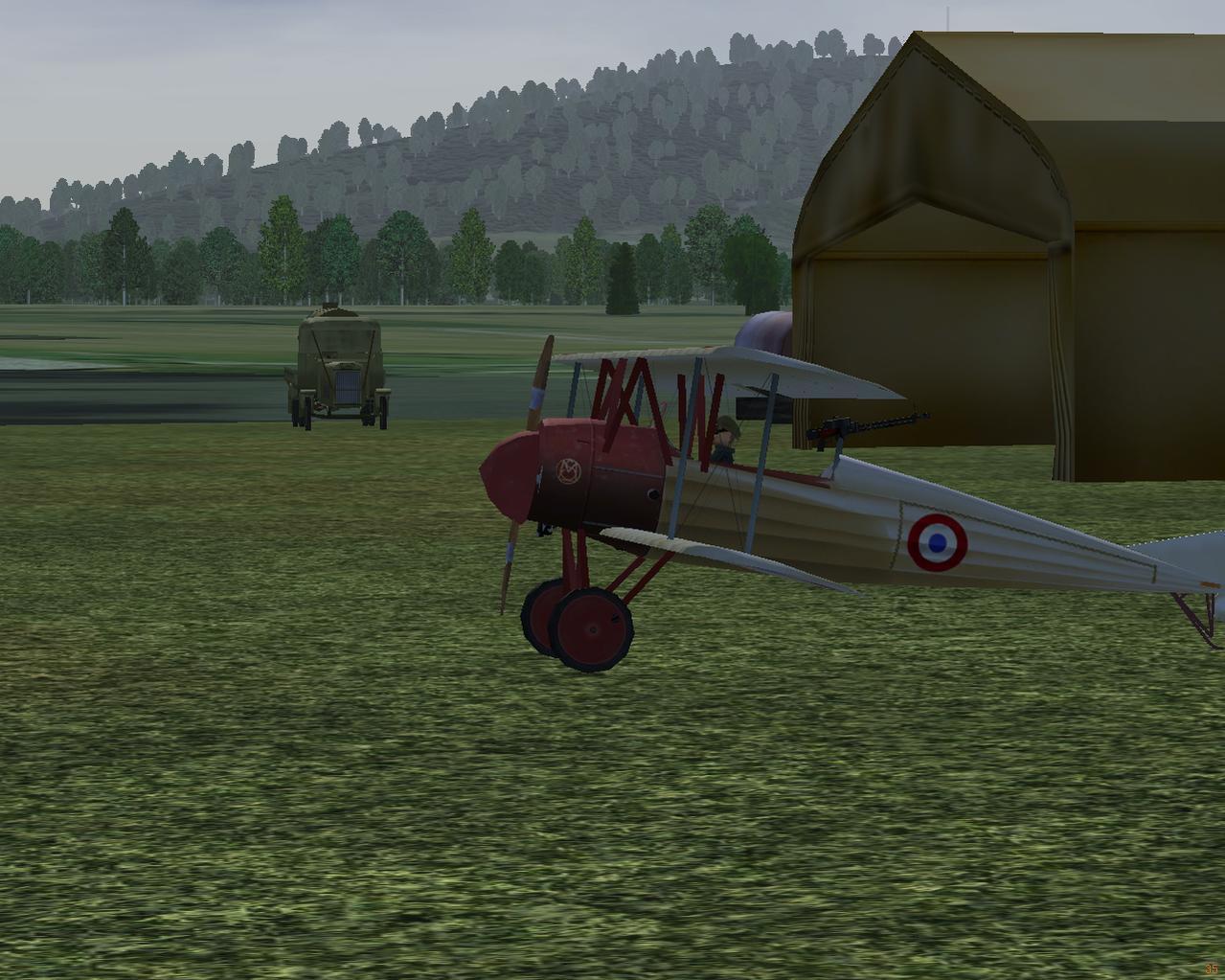 Morane BB at Belfort with Bessenau double hangars