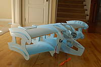 """Name: 2010-06-26 TwinBipe 014.jpg Views: 488 Size: 42.5 KB Description: Notice the relief area on the two side fuselages for the 6"""" foam wheels.  Very light and very efficient."""