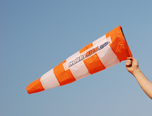 Windsock from HobbyKing. 800mm long, 250mm opening (dia.). A really nice product for $2.99! Great for smaller park fields, and more private club installations...