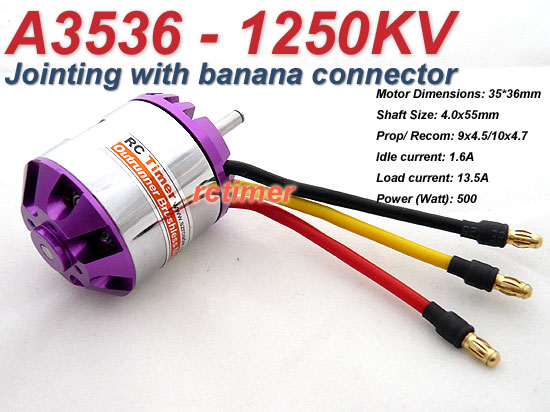 Specs are: 102g, 3-4S, 500W, 40-50A ESC recommended. THis is a FRONT mount, heli-style motor since the Yak55's firewall is only able to handle the reverse can mode of mounting.