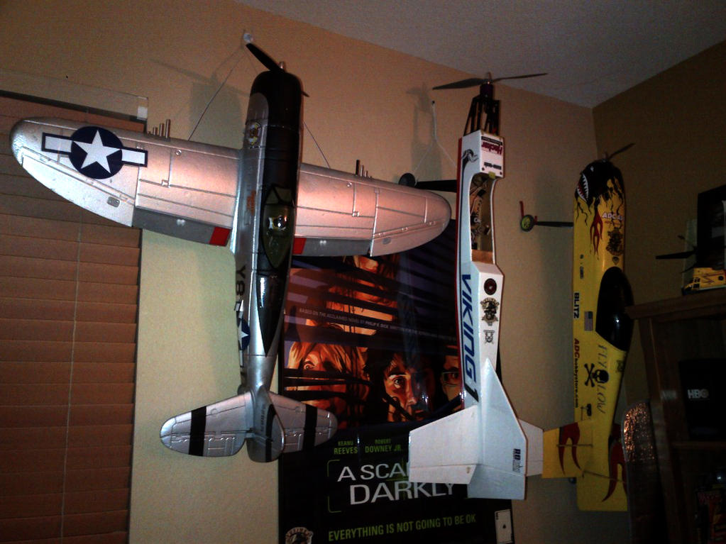 "P-47, Custom built 56"" (stick like) was never flow before I got it, I call her Viking 1. And last but not least 47"" 3DHS Velox"