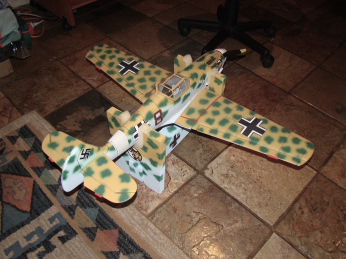 Highly modified GWS Bf109e in JG27 Trop finish.