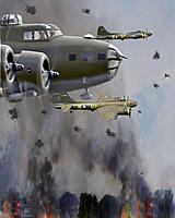 Name: Brents bomb run picture w flak.jpg