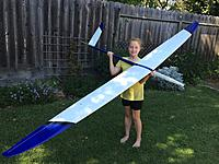 Name: image-0f5bfc7e.jpg Views: 58 Size: 1.09 MB Description: My teenage daughter chickened out, so nine year old, future f3f pilot Camille has the modeling honors.   I will be watching for just the right day to chuck it off one of our local hills.  I hope to get a few races with it this season.