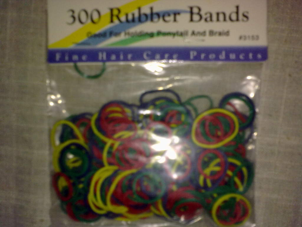 Purchased a bag of elastic bands from local beauty salon. $2.00