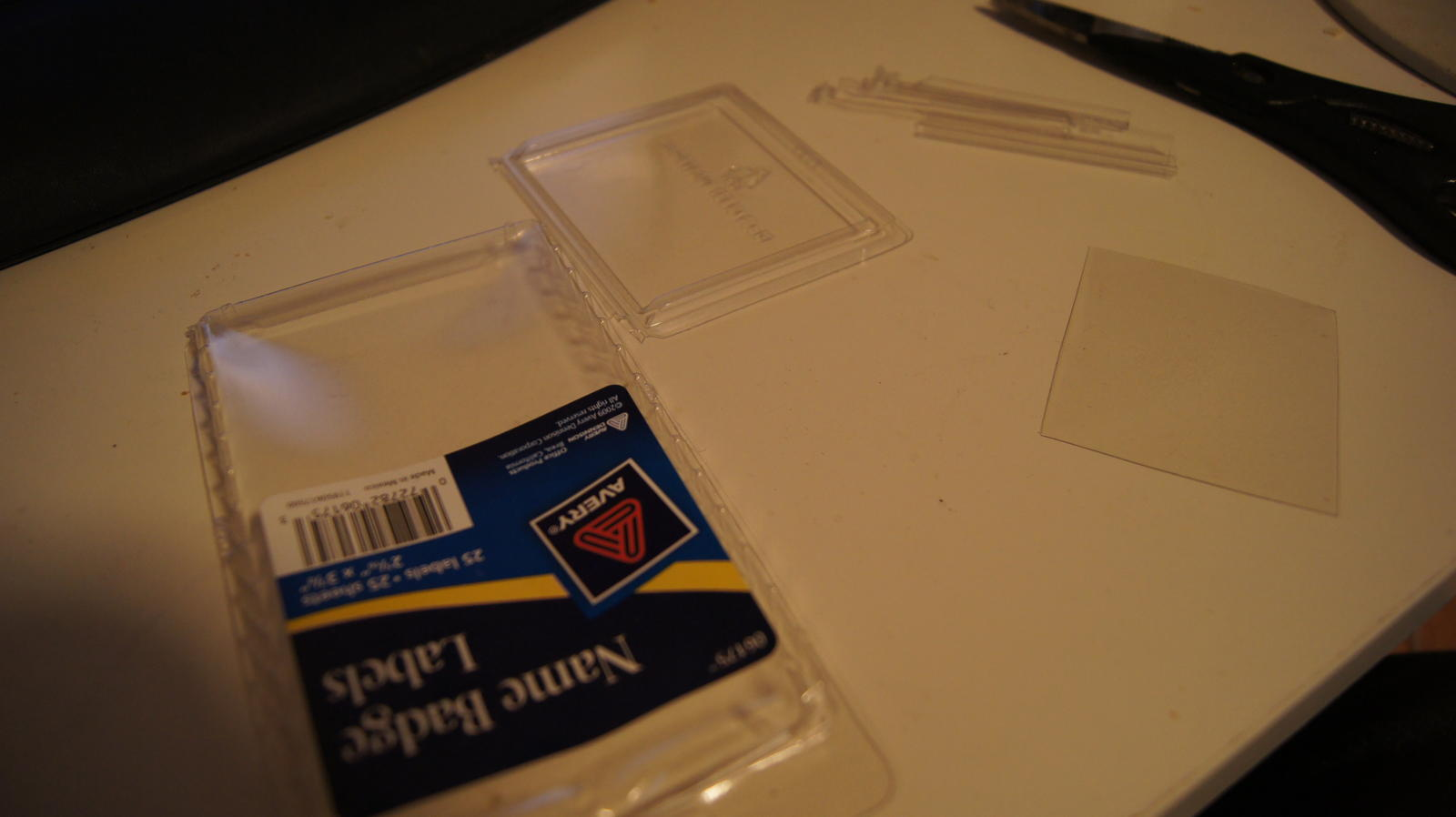 The base material. I used one of those pesky clear packages that you never really get to open properly.