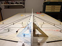Name: DSC05373.jpg Views: 56 Size: 432.1 KB Description: Sight down the length of the fuselage to ensure that as well as square, that it is also straight and true