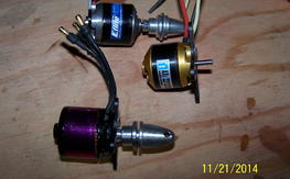 Three Brushless outrunner motors Hacker Axi and Eflite