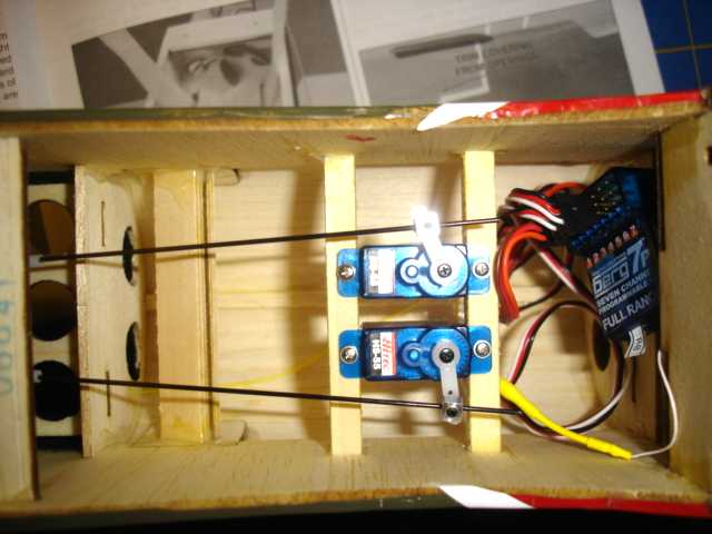 Rudder and elevator servos installed but receiver and its antenna not yet in place.