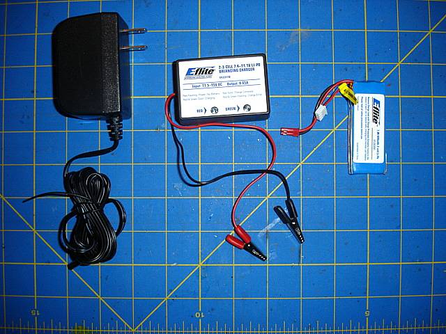 Here we have the wall power unit, The 12-volt DC charger and the 7.4-volt Li-Po battery pack.